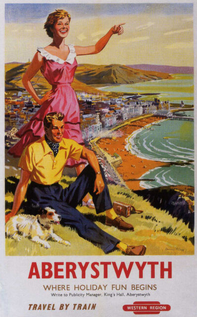"""ABERYSTWYTH"".. West Wales Vintage British Railway Poster 2 A1,A2,A3,A4 Sizes"