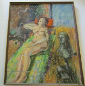 BLIZZARD LARGE VINTAGE NUDE PAINTING WOMAN FEMALE MODEL ABSTRACT EXPRESSIONISM