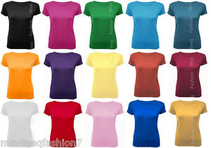 Womens-Short-Sleeve-Stretch-Plain-Scoop-Neck-T-Shirt-Top-Tee-8-14