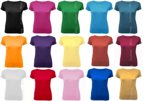 Womens Scoop Neck T Shirt Short Sleeve Stretch Plain Top Tee 8-14