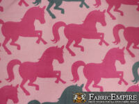 Polar Fleece Fabric Print Pink Gray Horses Baby Pink Background Sold Bty