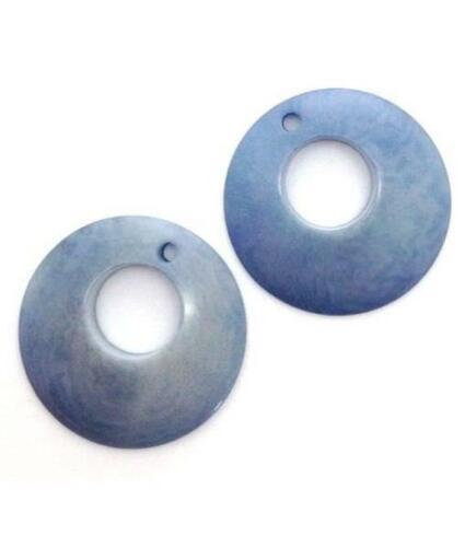 25mm 2 Stück Tagua Ringe gewölbt Taguaperlen himmelblau off-center Loch