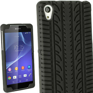sneakers for cheap dd73b 1522f Details about Black Tyre Silicone Gel Skin Case for Sony Xperia Z2 D6503  Cover Rubber Bumper