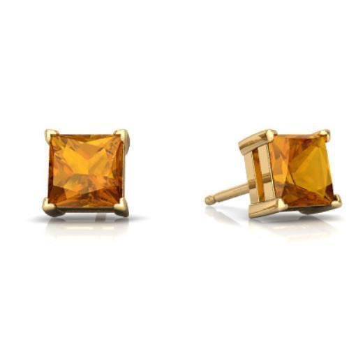 14Kt Yellow Gold Citrine Princess Cut Stud Earrings