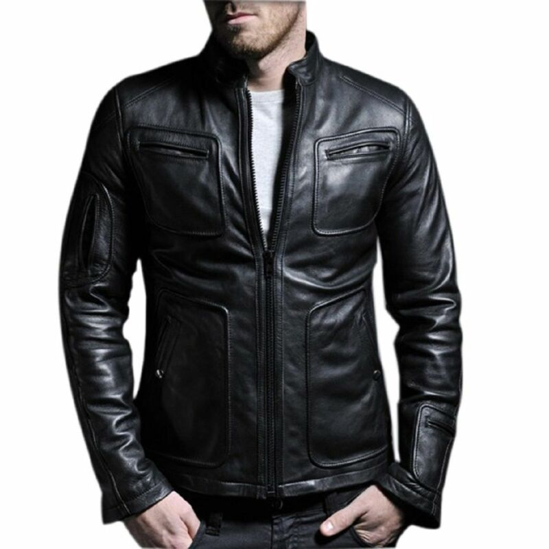 Beautiful Classic Men's Genuine Sheepskin Leather Rider Style Motorcycle Biker Jacket #s2 We Take Customers As Our Gods