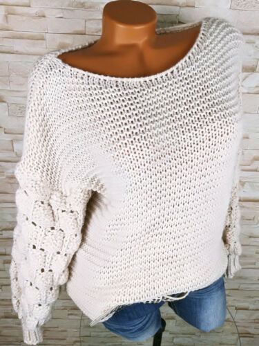 Italy PULLOVER Pompons Damen Wolle warm Grobstrick CREME WEISS 38 40 42 S M