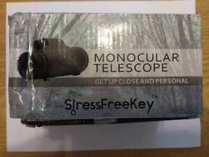 Monocular telescope by stress free key high power prism