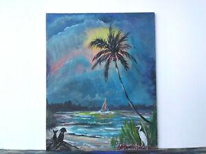 Original-Acrylic-Painting-8-x-10-Canvas-Panel-Cat-amp-Dog-on-Beach-Art