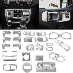 Full Interior Accessories Cover Trim Kit For 2018-20 Jeep Wrangler JL JLU Silver