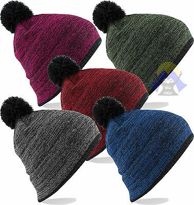 Analitico Cuffia Beechfield B452 Unisex Snowstar Boarder Beanie Hat Cap Pom Pom Invernale