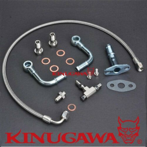 Kinugawa Universal Turbo Oil Water Line Kit Mitsubishi TF035 TD04 w// M10 x 1.25