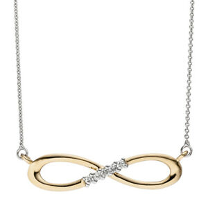 Collier-Halskette-Unendlich-585-Gold-bicolor-5-Diamanten-Brillanten-Kette