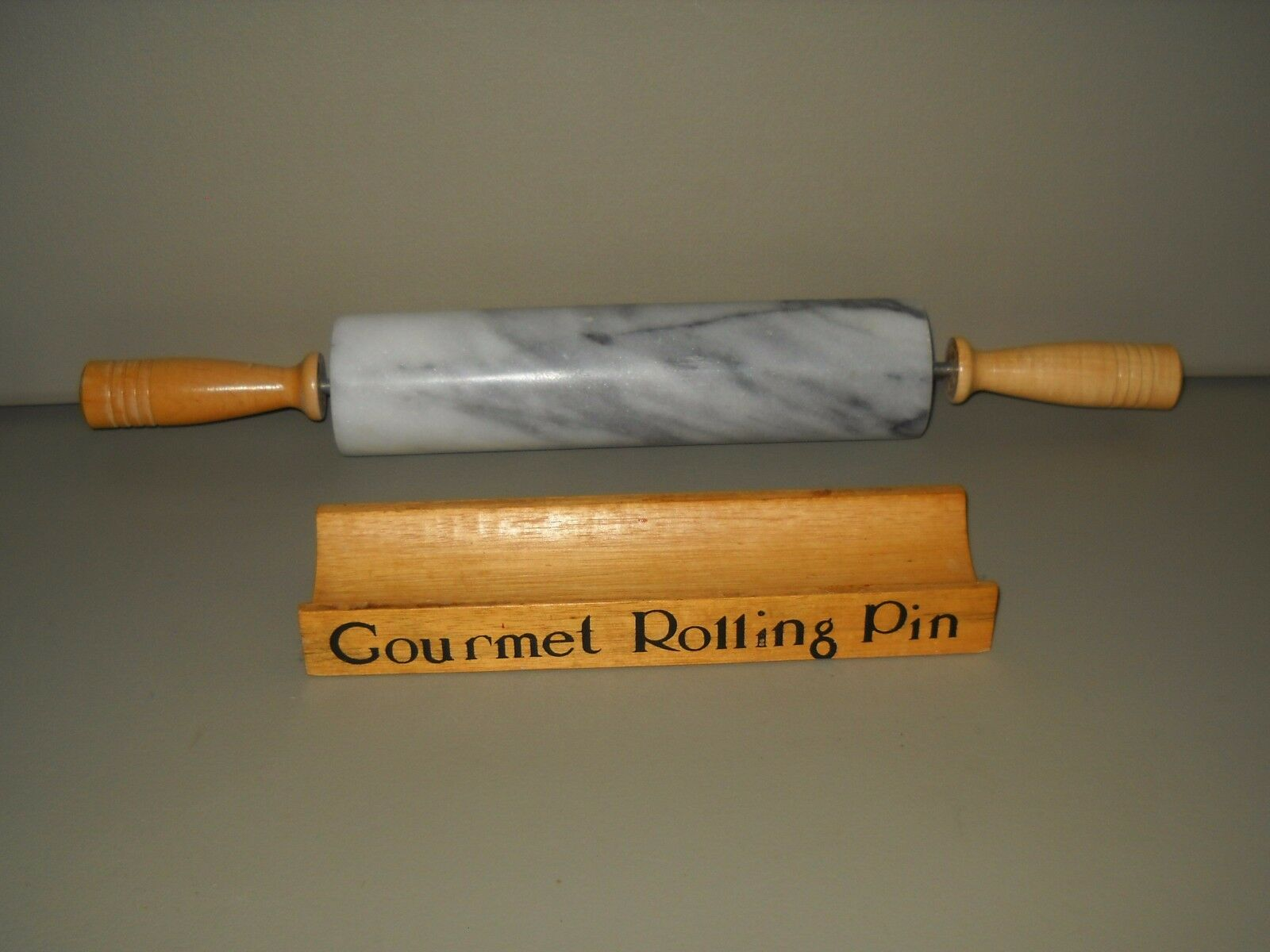Marble Rolling Pin & Stand Gourmet Heavy Cold Pastry Cookie Dough