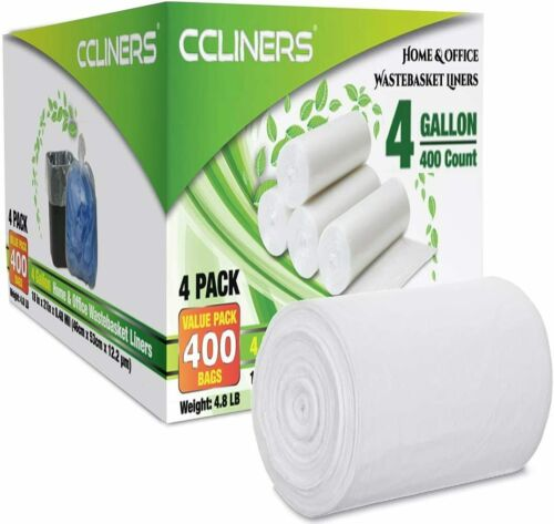 400 Bags CCLINERS Small Trash 4 Gallon Clear Garbage Bags bathroom Can Liners