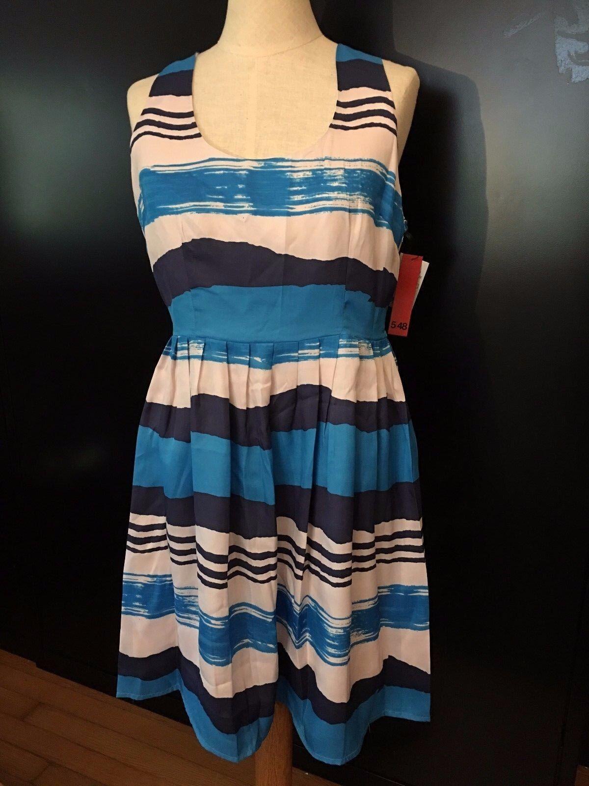 5 48 Saks 5TH Avenue Women's Striped Methlyn bluee Dress  Size 2 NEW