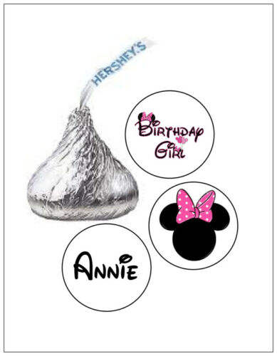108 PINK MINNIE MOUSE BIRTHDAY HERSHEY KISS KISSES CANDY STICKERS *