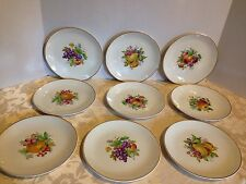 Antique Johnson Bros Snowhite Ironstone 9 Round FRUIT Gold Rim Salad Plates_RARE