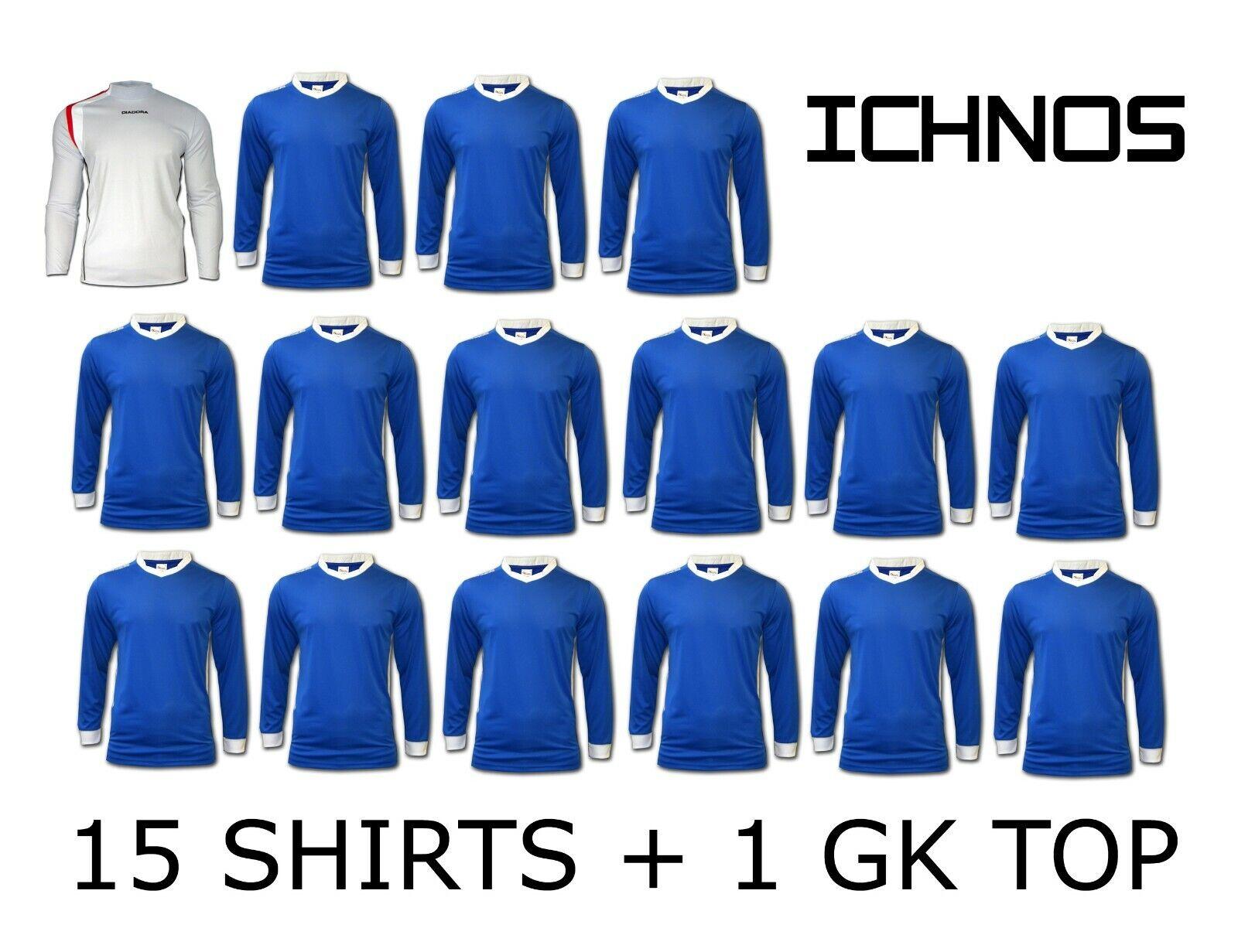 ICHNOS Azul Kit de equipo de día para adultos match Fútbol Camisas (15 jugadores 1 GK superior)