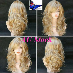 AU-STOCK-Women-Ladies-Blonde-Long-Wavy-Party-Cosplay-Natural-Full-Hair-Wig-Hot