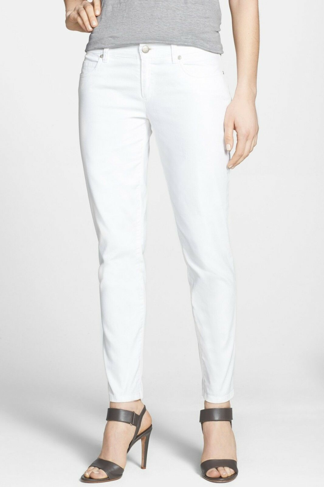 NWT Eileen Fisher White Organic Cotton Stretch Denim Ankle Skinny Jeans Size 14