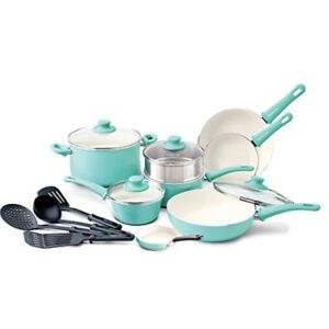 Cookware Set Pots Pans Turquoise 16 Piece Ceramic Nonstick Soft Grip