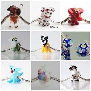 SILVER MURANO GLASS BEAD LAMPWORK Animal Fit European Charm Bracelet