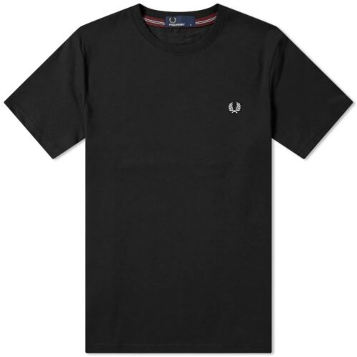 New Fred Perry Crew Neck T-Shirt Tee Black S M L XL M6334 102