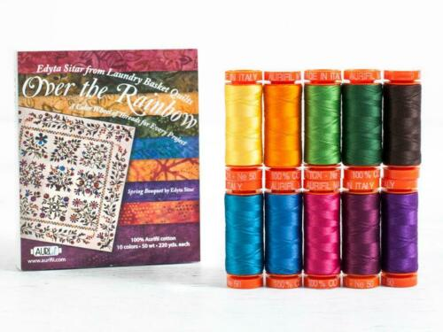 Laundry Basket Quilts Over the Rainbow Aurifil Thread Kit 10 Small Spools 50 Wt.