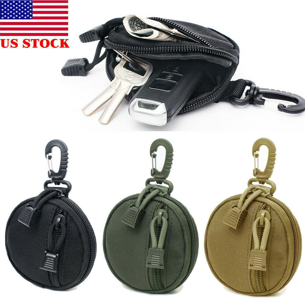 Tactical Wallet EDC Gear Coin Key Card Holder Utility Pocket Pouch Bags W/ Hook