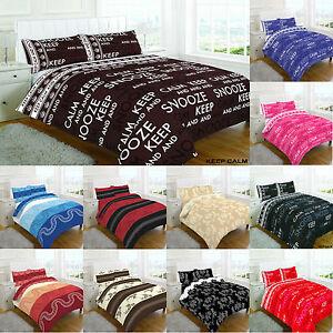 Designer Duvet Cover Keep Calm Quilt Set Pillow Case In
