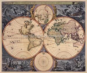 Visscher Antique Vintage Blue Colour Color Old World Map Plan Double - World map in blue color