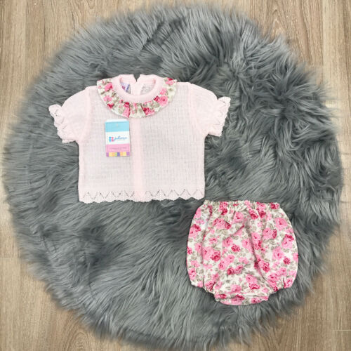 Spanish Jam Pants Set Pink and Floral Print Set Spanish Baby Clothes