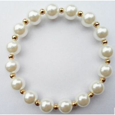 Free Ship 1pcs 10mm White Pearl Bracelet Charms Spacer Beads Fashion Jewelry