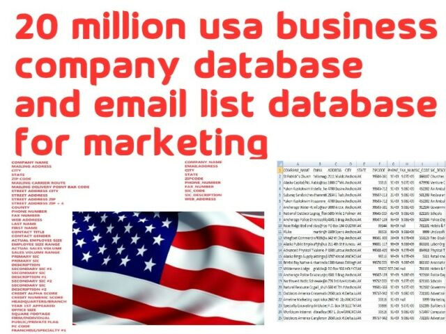 20M Email List B2B USA Business/Companies Address Phone Database