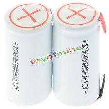 2x sub C subc Con Tab 6000mAh 1.2V Ni-MH ricaricabili bianca di alto potere