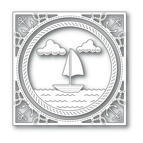 Sailboat Frame Metal Die Cut Boat Anchor Waves Memory Box Cutting Dies 94226