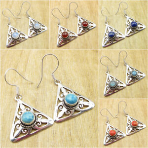 Simulated-Larimar-amp-Other-Many-Choices-Gemstones-925-Silver-Plated-Earrings