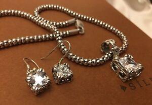 SILPADA-W0975-N1106-Popcorn-Necklace-Uptown-CZ-Pendent-S0979-Uptown-CZ-Earrings