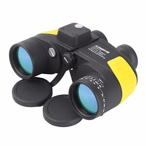 Brillant 7x50 Military Binoculars Bak4 Prism Telescope Waterproof W/ Rangefinder Comapss