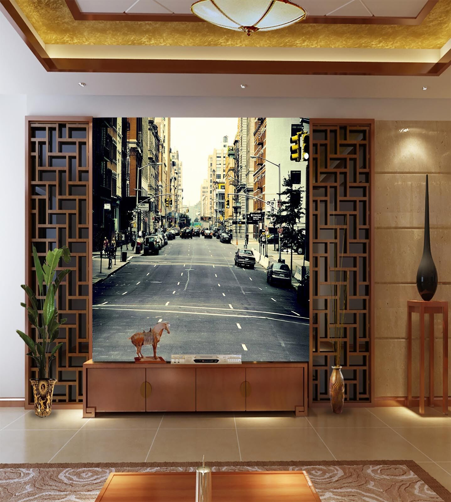 3D Busy City Street Scenery 38 Wall Paper Wall Print Decal Wall AJ Wall Paper