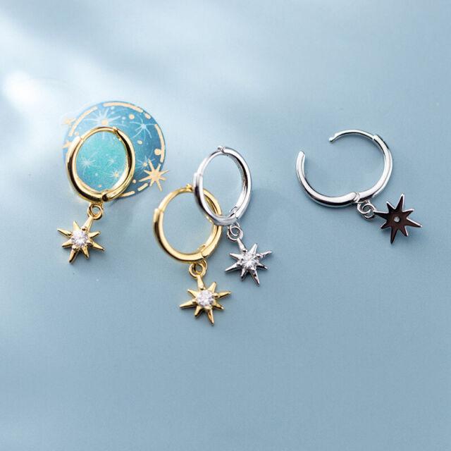 925er Silber Ohrhänger 3 Sterne Ohrringe Anhänger Himmel Nacht Universum Schmuck
