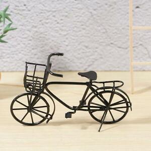 1-12-Scale-Black-Metal-Ladies-Bicycle-With-Basket-Tumdee-House-Bike-Dolls-G-B6T7