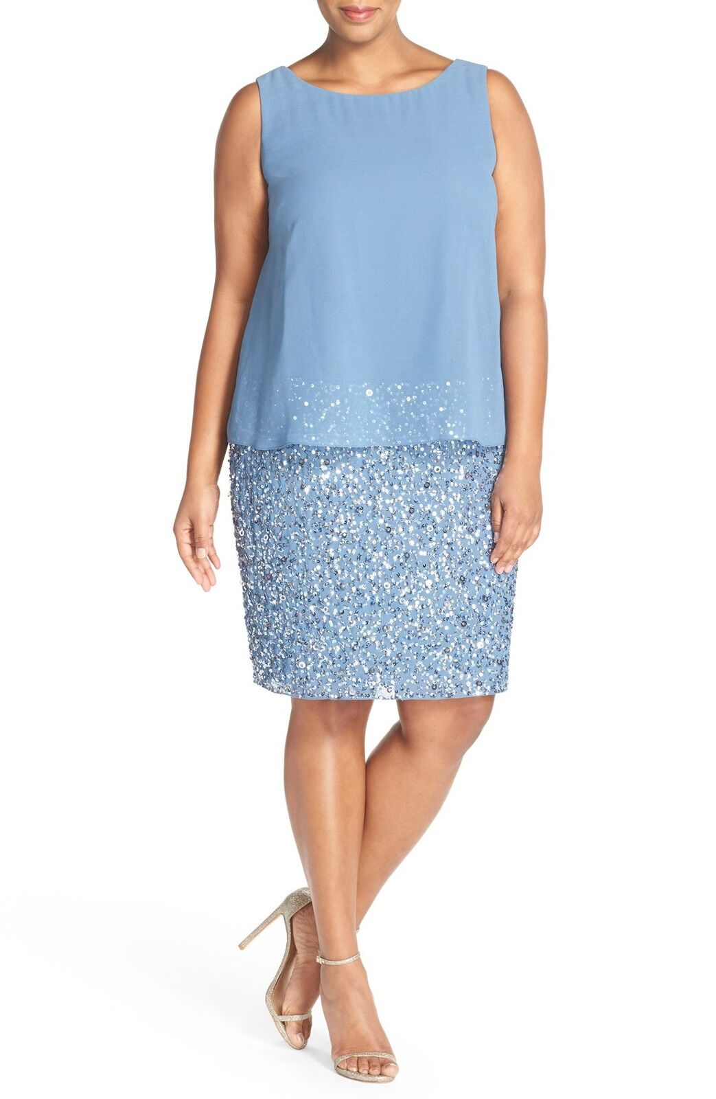 NEW ADRIANNA PAPELL Sequin Popover DRESS SIZE 14W  NILE blueE NORDSTROM