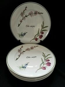 Image is loading 6-Apilco-Elysian-Garden-Dinner-Plates-10-3- & 6) Apilco Elysian Garden Dinner Plates 10 3/8\