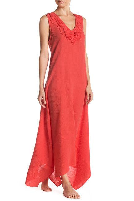 NWT New Natori Sleeveless Maxi Night Gown Dress Embroidered Womens XL Red orange
