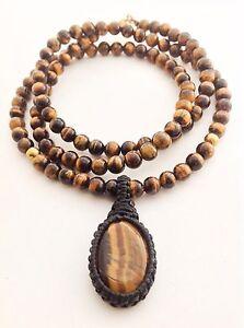 Men-039-s-Natural-Tiger-039-s-Eye-Gemstone-Mala-108-Beaded-Yoga-Pendant-Jewelry-Necklace
