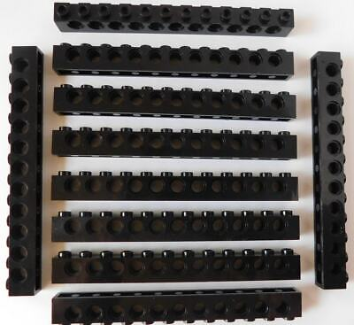 Long Beams w holes 3895 10 Black Lego 1x12 Technic Bricks Lot Mindstorms