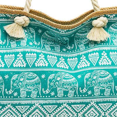 CASPAR TS1042 große XXL Canvas Sommer Strandtasche Badetasche Elefanten Muster