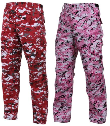 Reinforced Military Style Cargo Pants Red or Pink Digital Camouflage BDU Pants