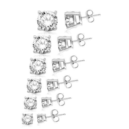 10MM Sterling Silver 925 Brilliant Round Cut Clear CZ Stud Earrings 3MM